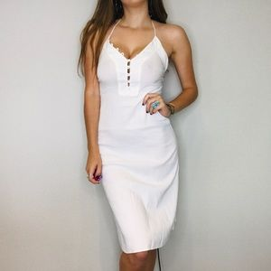 Theory white halter low back button midi dress